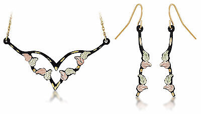 Landstrom's Black Hills Gold Black Powder Coated Jewelry Set with Hook Earrings
