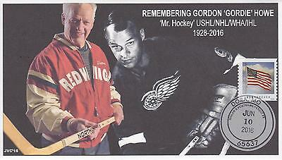 JVC CACHETS - GORDON 'GORDIE' HOWE MOURNING EVENT COVER FDC HOCKEY W/ MPP CANCEL