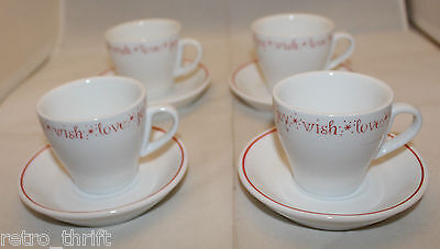 Starbucks Coffee Set of 4 Demitasse Espresso Cups and Saucer 2005 Love Joy Wish