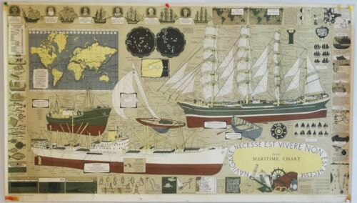 Large Vintage Maritime Chart by III Tre Tryckare Boating, Maps, knots etc