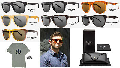 NEW Electric Leadbelly Ohm Cr39 Acetate Round Mens Sunglasses + Case (Mens Sunglasses Case)