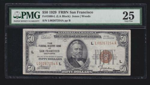 US 1929 $50 FRBN San Francisco FR 1880-L PMG 25 VF (-254)