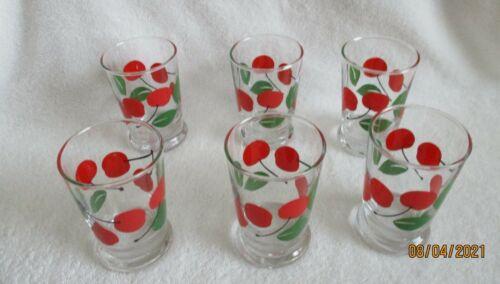 VINTAGE 6 Libbey [ 6 oz. Juice Glasses/Tumblers Cherry Pattern ]