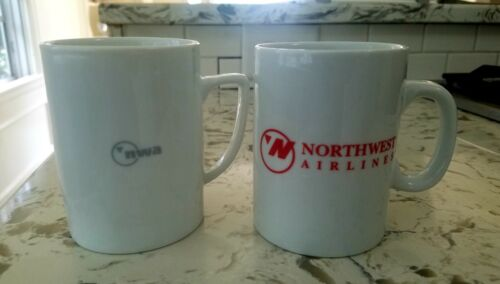 2 Vintage Northwest Airlines First Class Coffee Cups Mugs Ceramic