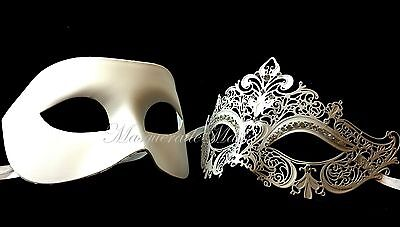 Couple Masquerade Ball Mask Black White Laser cut Costume Prom Halloween Party (Black And White Couple Costumes)