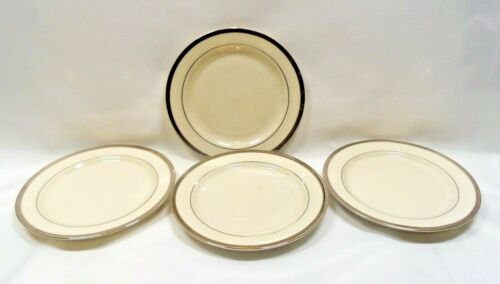 Pickard China USA Bracelet Bread Plates x4 Ivory Platinum Trim & Verge