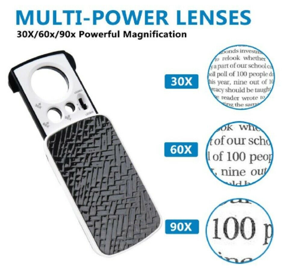 30X 60X 90X Pockets Magnifying Magnifier Jeweler Eye Glass Loupe Loop LED Light Jewelry & Watches