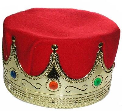Kings Crown Adult Deluxe Red Gold Medieval Renaissance Plastic Royal Costume Hat