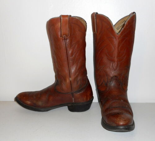 Mens, 9.5, D, Cowboy, Boots, Durango, Brown, Leather, Vintage, Distressed, Rockabilly, ,