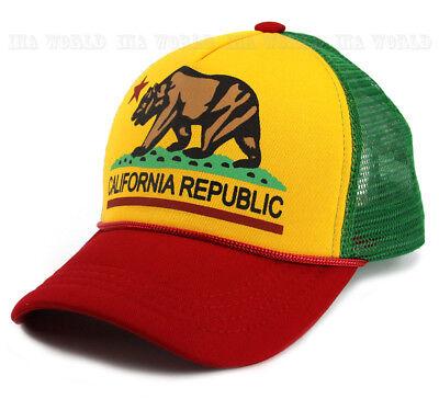 California Republic hat Foam RASTA Colors Snapback Mesh Trucker Baseball cap