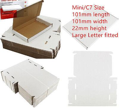 50x WHITE C7 MINI BOX 101x101x22mm ROYALMAIL LARGE LETTER POST CARDBOARD PIP 4U