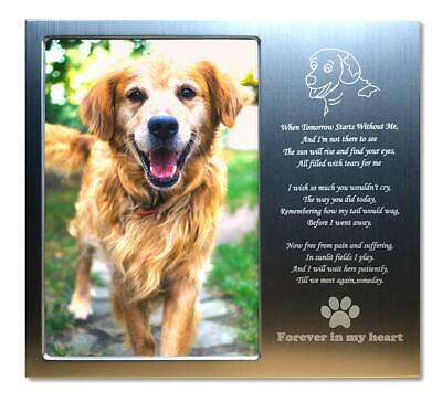 Pet Memorial Personalized Metal 4x6 Picture Frame Gift For Loss Of Dogs Or Cats. - CA$31.99