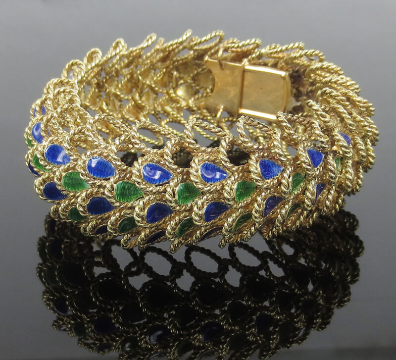 Rare Vintage Blue & Green Enamel 14k Yellow Gold Wide Rope Bracelet