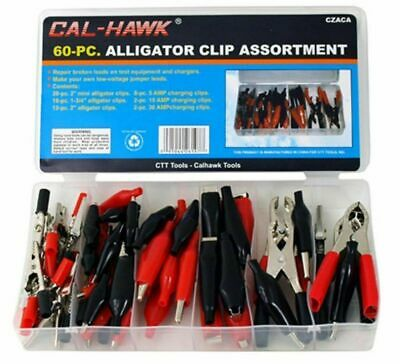 60 Pc Alligator Clip Assortment Test Lead Electrical Battery Terminal Connector