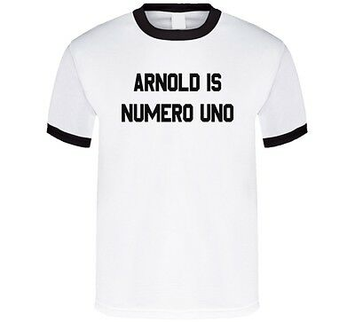 Arnold is Numero Uno Mens Ringer White T Shirt Arnold Is Numero Uno T-shirt