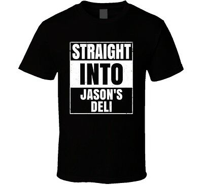 Straight Into Jasons Deli Fast Food Fan Distressed Style T Shirt