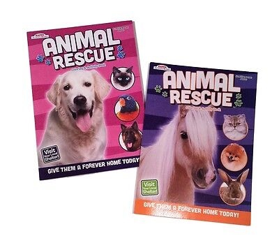 NEW Set of 2 Rescue Animals Dogs Horses Kids Coloring Book & Activity Books Set