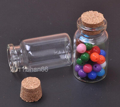 10pcs Vials Clear Glass Bottles with Corks Empty Sample Jars Small 50x22mm