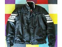 Motorcycle jacket gloves helmet size M