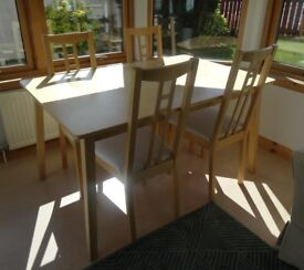 Extendable Beech Dining Table & 6 Chairs (Ikea - Cream Cushions on Chairs)