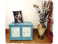 Stunning Vintage Shabby Chic Blue Solid Wooden Storage Box - Free Delivery