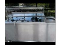 Hot Unit - Flat plate with overhead lamps, under counter hot cupboard, built in heated plate hopper