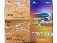 Lords Day 4 Eng-Ind test match tickets