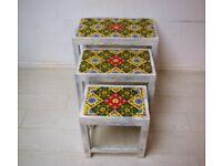 Beautiful hand painted and tiled 3 Piece Nest of tables