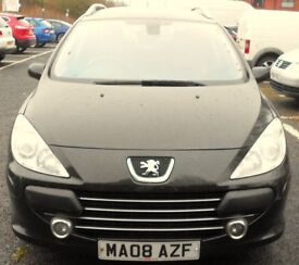 2008 peugeot 307 estate 1.6 diesel with long mot and tax to drive away