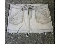 Grey frayed denim skirt size 12
