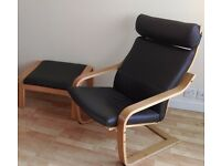 Ikea Poang Leather chair and matching footstool