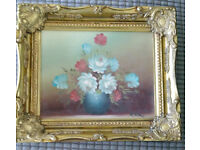 Small Oil on Canvas still life Painting in Gilt frame R Cox Signed