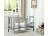 Grey Baby Cot Crib With Water repellent Mattress - excellent condition