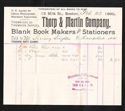 1895 DENSMORE TYPEWRITER ALL MAKES FOR RENT THORP & MARTIN BILLHEAD BOSTON Z7