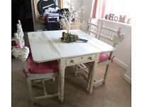 VICTORIAN DROP LEAF TABLE & 4 FRENCH BERGERE CHAIRS SHABBY CHIC,Can Deliver