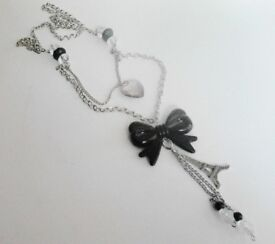 Ladies New Silver Toned Dual Drop Beaded Tassels Pink Heart and Black Bow Fashion Necklace .
