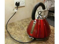 Red Designer Chic Retro pyramid kettle. Morphy Richards.