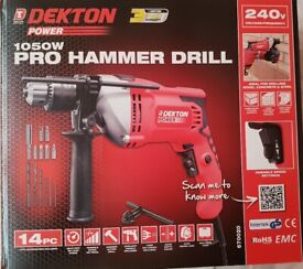 Brand new drill kit and tools in an organised safety box