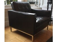 Florence Knoll style brown leather armchair