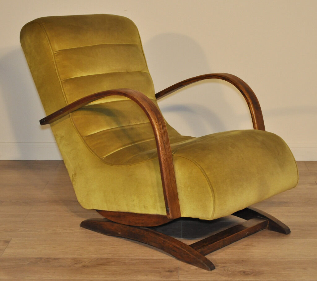 Art deco vintage leather sofa armchair - Attractive Large Vintage Art Deco Upholstered Rocking Chair Easy Armchair