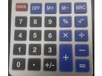 Solar and Battery Powered Calculator.