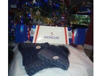 Brand new MONCLER Blue Scarf and hat gift set