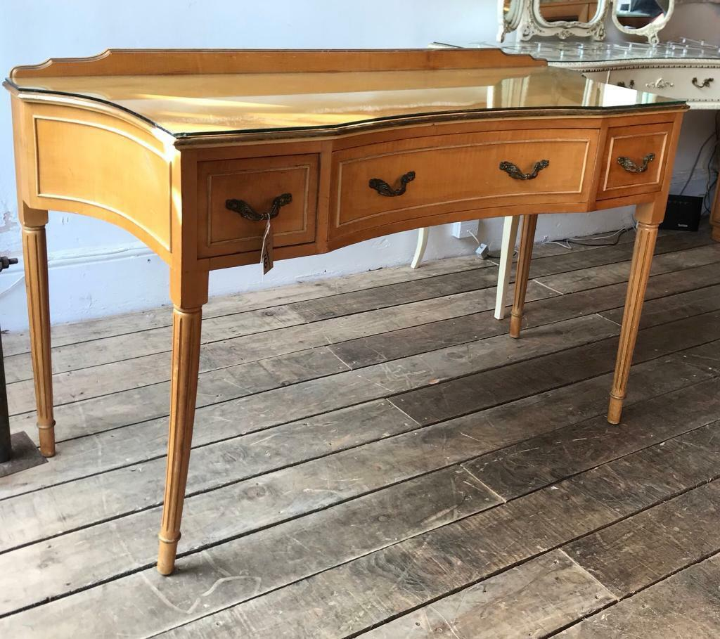 Vintage Glass Topped Desk/ Dressing Table