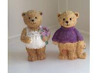 PAIR NEW CERAMIC MALE BOY FEMALE GIRL TEDDY BEAR FAMILY CHARACTER ORNAMENT FIGURES