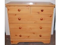 1 bedroom drawers – pine effect – 2 over 3 drawer layout