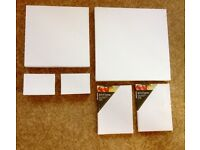 6 Assorted sizes Blank White Artists Canvas Primed Wood Frames