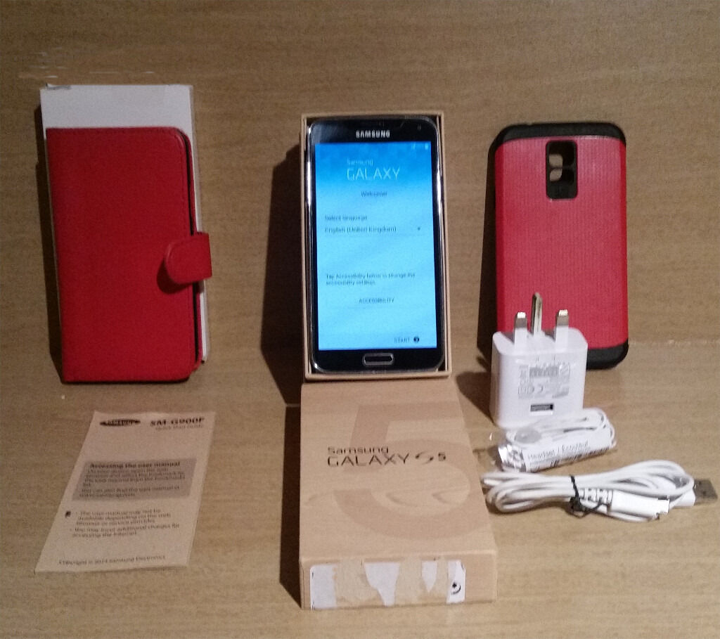 Samsung Galaxy S5 SM G900F16GBmobile phone SIM unlockedin Chadderton, ManchesterGumtree - Samsung Galaxy S5 SM G900F 16GB mobile phone SIM unlocked Samsung galaxy s5 in great condition. Unlocked so can be used on any network, factory reset done so good to go. Original box Been using it with screen protector (already applied) and...