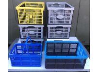8x folding collapsible plastic storage crates