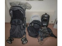 Complete baby travel system - Silver Cross - pram + car seat + isofix base + accessories