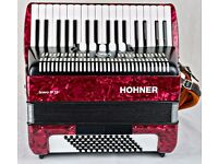 Hohner Bravo III 72 bass - Red Pearl with Gig Bag - straps - piano accordion with 34 keys